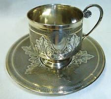 Superb 19th Century French Fully Hallmarked 950 Solid Silver Cup & Saucer