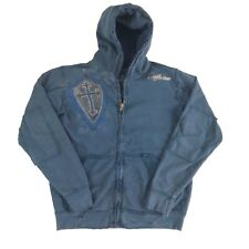 Affliction Full Zip Up Jacket Small Distressed Navy Hoodie Lion Cross Graphic