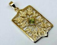 P022 Genuine 9K Yellow Gold NATURAL Peridot & Pearl Vintage sty Filigree Pendant