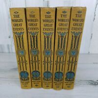 Antique 1904 The Worlds Great Events Books 5 Volumes Full Page Drawings Duograph