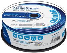 100 Mediarange Rohlinge Blu-ray BD-R full printable 25GB 6x Spindel
