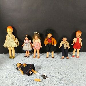 """Antique Lot of 6 Bisque German Miniature Dollhouse Dolls 4.25""""-3.25"""""""