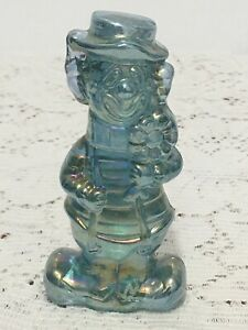 Boyd's Chuckles The Clown Happy/Sad Candyland Green Carnival Glass Figurine T22