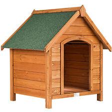Caseta XXL de madera maciza para perro tejado verde casa perrera 72x65x83cm