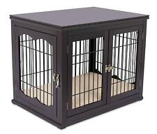 Internets Best Double-Door Wooden Wire Dog Crate Side Table, Espresso, Small, 3