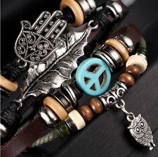 Mens Unisex Multi Layer Surfer Brown Leather Bracelet Hamsa Hand & Owl Pendant