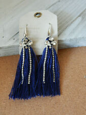 Strand Hook $48 New Tag Earrings Fringe Navy Blue Anthropologie Rhinestones