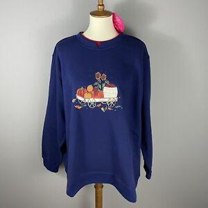 Quacker Factory Fall Sweatshirt 3X Navy Blue Autumn Pumpkins Embroidered NWT QVC