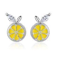 NEW Women's Summer Fashion 925 Sterling Silver Epoxy AAA CZ Lemon Stud Earrings