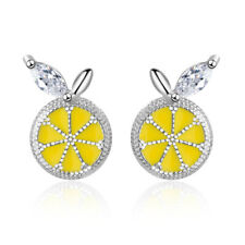 Epoxy Aaa Cz Lemon Stud Earrings Women's Cute Fashion 925 Sterling Silver