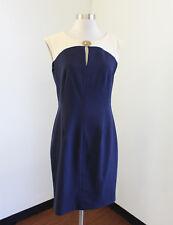 Calvin Klein Navy Blue Beige Keyhole Color Block Sheath Dress Size 8 Office