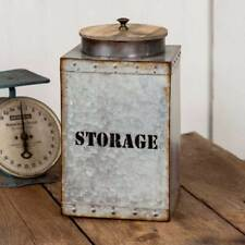 STORAGE canister w/ lid in Distressed Tin