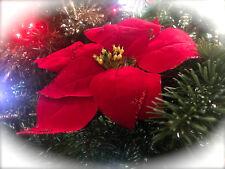 Red Poinsettia Flower Fabric Artificial Wreath Flower Christmas Garland Glitter