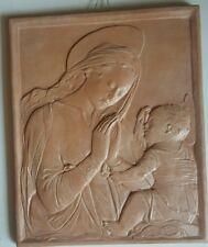 Quadro a rilievo madonna con bambino in terracotta smaltata fatto a mano 31x38