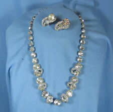 EISENBERG Rhinestone Necklace with Matching Clip Earrings - Fine Vintage Costume