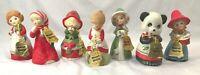 7 Jasco Christmas Porcelain Merri Bell Critter Figurines 1978 Taiwan Vintage Lot