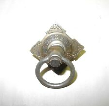 Vintage Singer Treadle Sewing Machine Early Brass Drop Ring Drawer Pull, Patina