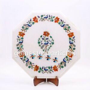 White Marble Coffee Table Top Inlaid Pietra Dura Floral Semi Precious Art Décor