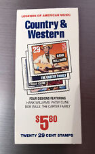 Country & Western 20 29 Cent Stamp Booklet- Legends of American Music MNH