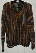 TUNDRA CANADA MENS SZ L Large MULTICOLOR 3D TEXTURED V NECK SWEATER