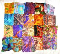"LOT PURE SILK Vintage Sari Fabrics REMNANT 16 pcs 8"" SQUARES Multi-color CRAFT"