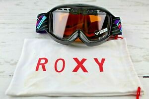 Roxy Black Broadway Ski Snowboard Goggles Purple Band One Size UV Cat 1 Unused