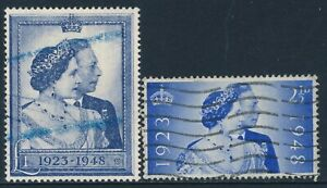 GB 1948 ROYAL SILVER WEDDING SET OF 2 USED SG493 SG494