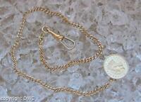 Taschenuhrkette Uhrkette in aus 18 Kt. 750 Gold mit Goldmünze 1 Dollar 1872