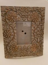"""Hand Carved Large Wooden Photo Frame Flower Design Made in India 11.5 x 9.5 """""""