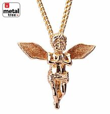 "Men's Hip Hop Baby Praying Angel Pendant 30"" 4mm Cuban Chain Through Back Hook"