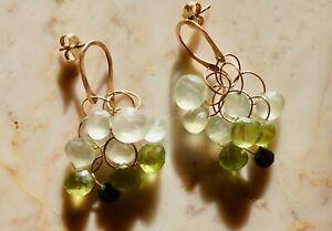 Auth. MELISSA JOY MANNING 14K Rose Gold Horseshoe 9-stone Chandelier Earrings