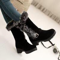 Women's Fur Trim Low Heel Winter Snow Boots Fur Lining Mid Calf Boots Plus Size