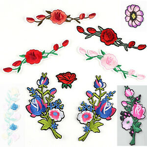 1 X  Iron On Patches embroidered  Applique Sew on Flowers #3