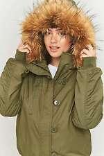 Urban Outfitters Light Before Dark Hooded Bomber Jacket - Khaki M - RRP £79 New
