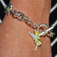 Disney Tinkerbell Charm Bracelet Silver Glittery - NWT