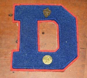 """1940's High School Varsity Letter """"D"""" Achievement Sports Emblem, Chenille Patch"""