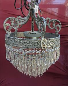 Vintage Crystal Metal Basket Chandelier