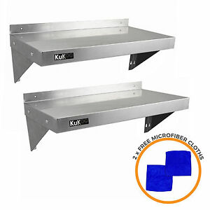 2 x Stainless Steel Shelves Commercial Catering  Kitchen Wall Shelf Metal 900mm