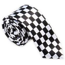 GIFTS FOR MEN Skinny Retro Mens Checked Check Satin Necktie Tie Black White