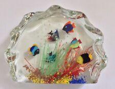 EXQUISITE MID CENTURY MURANO GLASS AQUARIUM PAPERWEIGHT SCULPTURE RED LABEL