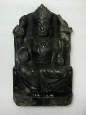 Antique Old Rare Black Stone Fine Hand Carved Hindu God Vishnu Statue Sculpture