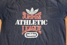 Vtg 1980s Adidas Summer Athletic League T Shirt Hip Hop Made Usa Blue M