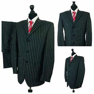 Mens 2 Piece Suit 40R 30W 29L Grey Pinstripe Smart Formal Business  P100
