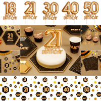 Black Gold Happy Birthday Cake Cupcake Toppers Decoration Picks 18-21-30-40-50