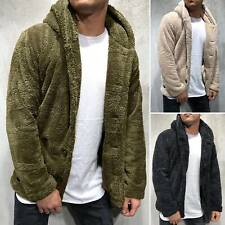 Men Winter Warm Fleece Teddy Hooded Coat Fluffy Button Up Hoodie Jacket Overcoat