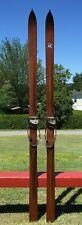 "ORIGINAL ANTIQUE Wooden 'T Eaton' Skis 83"" Long w/ POINTS + LABEL Snow Skiis W@W"