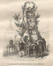 A5223 Venditore di angurie in Italia - Xilografia Antica del 1842 - Engraving