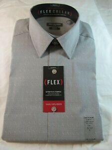 NWT VAN HEUSEN FLEX COLLAR STRETCH FABRIC SLIM FIT DRESS SHIRT, Metal Grey