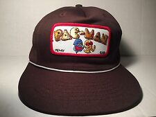 Pac-Man Patch Mesh Trucker Hat Snapback Cap 1981 Brown Vintage