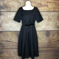 Modcloth Womens Large Belted Short Elbow Sleeve Dress Black NEW Sunday
